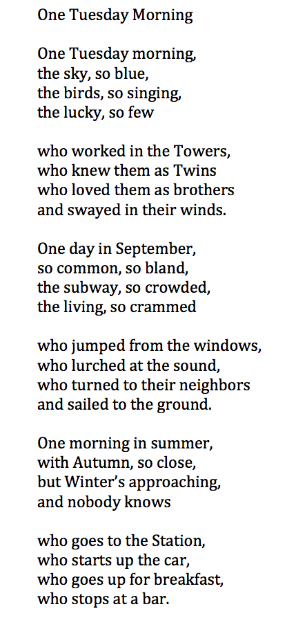 One Tuesday Morning Poem One Tuesday Morning